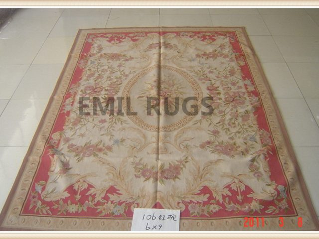 authentic wool french 6' X 9' Ivory Field Red Border flat weave aubusson carpet