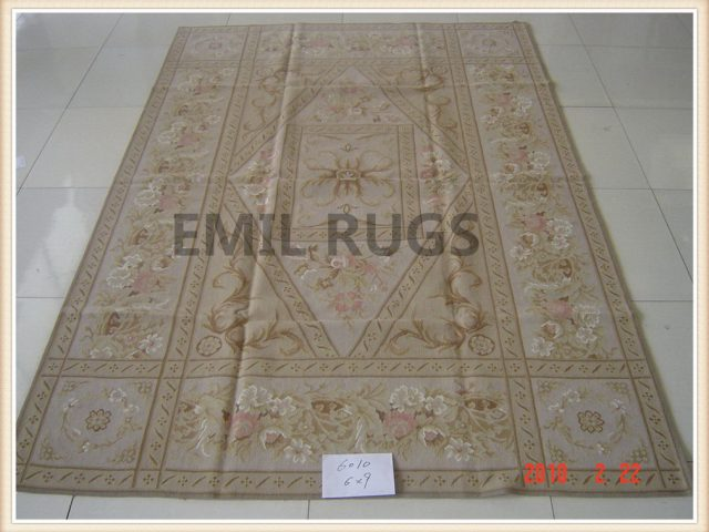 authentic wool french 6' X 9' Beige Field Ivory Border flat weave aubusson carpets