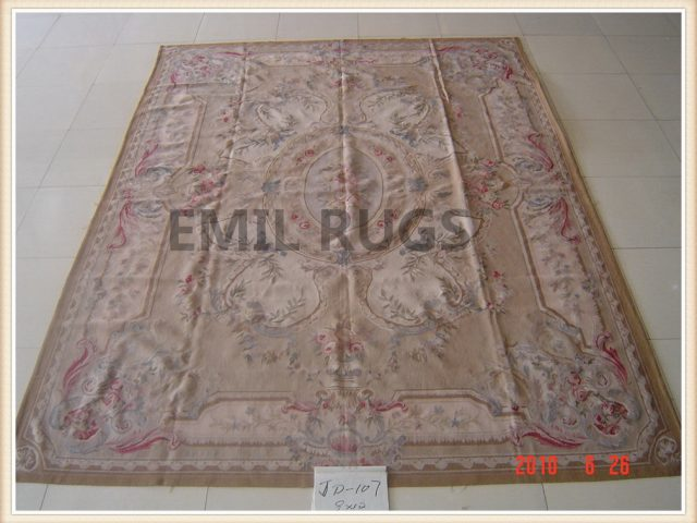 authentic wool french 6' X 9' Beige Field Pink Border flat weave aubusson carpets