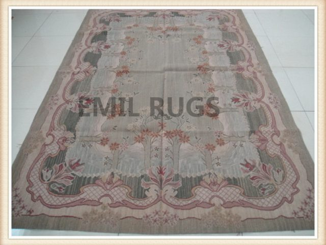 hand woven 6' X 9' Multi-Colored  Field Multi-Colored Border  flat weave aubusson rug