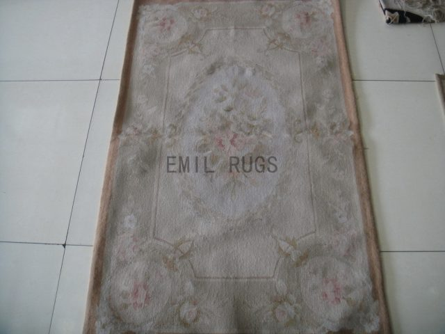 handmade 2.5' X 4.6' Ivory Field Gray Border flat weave aubusson rug
