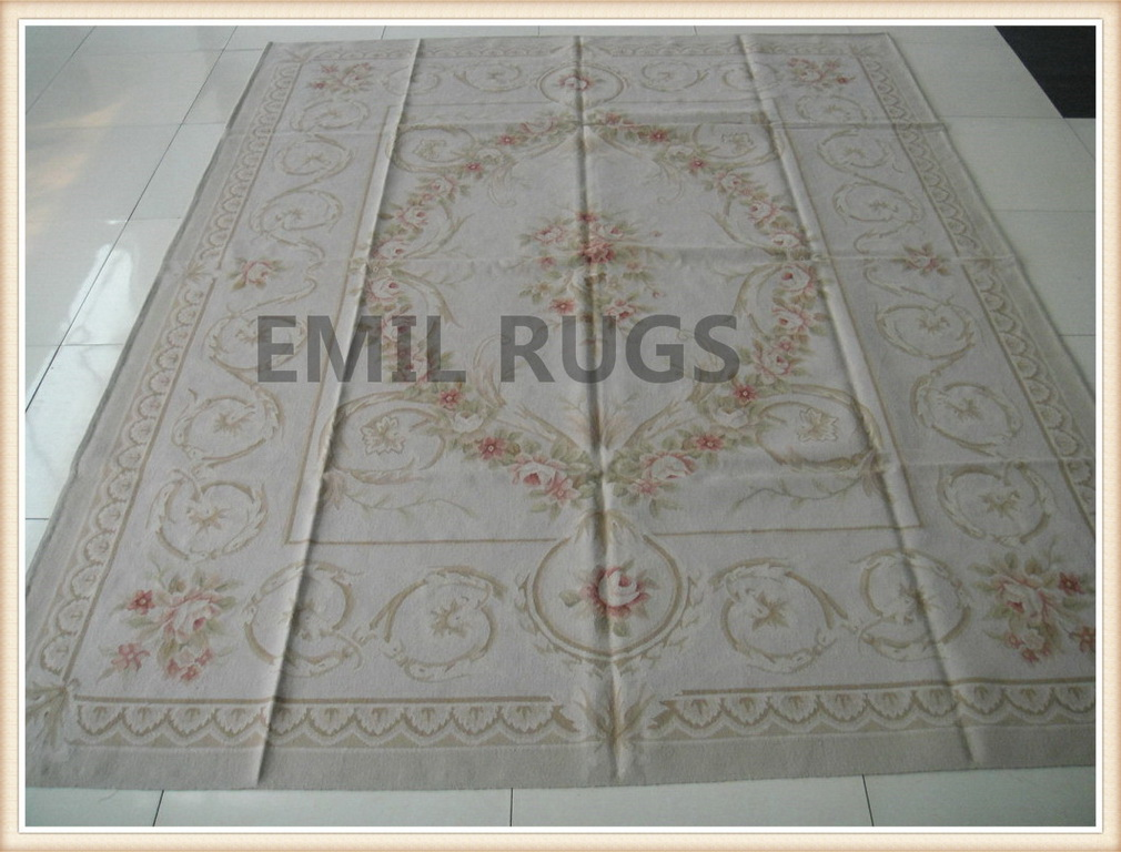handmade 8' X 10' Ivory Field Ivory Border flat weave aubusson rug
