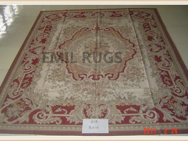 authentic wool french 8' X 10' Ivory Field Red Border flat weave aubusson carpets