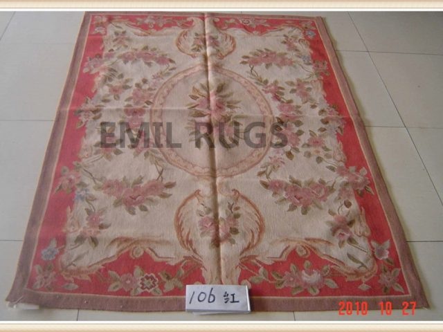 hand woven 8' X 10' Ivory Field Red Border flat weave aubusson carpets