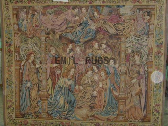 wool antique hand woven aubusson gobelin 6.3'x 7.1' wall tapestry