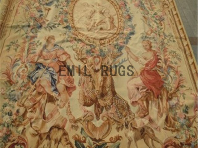 wool vintage hand woven aubusson gobelin 6.8'x 8.1' tapestries wall hangings