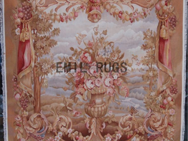 wool antique hand woven aubusson gobelin 3.8'x 4.8' art tapestries