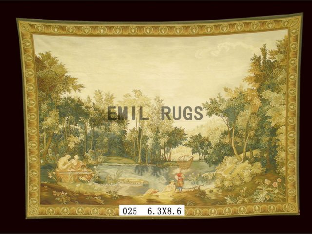 wool antique european french aubusson gobelin 6.3'x 8.6' wall tapestries
