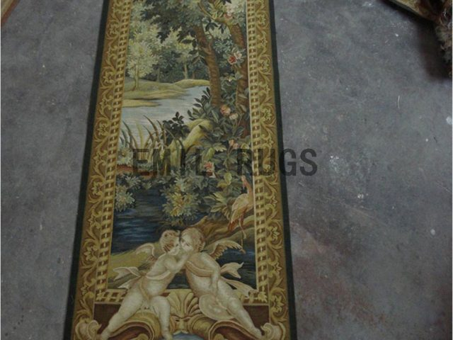 wool antique european french aubusson gobelin 2.5'x 7.65' wall tapestries