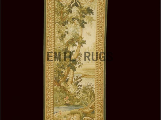 wool antique european french aubusson gobelin 2.5'x 7.65' tapestries wall hangings