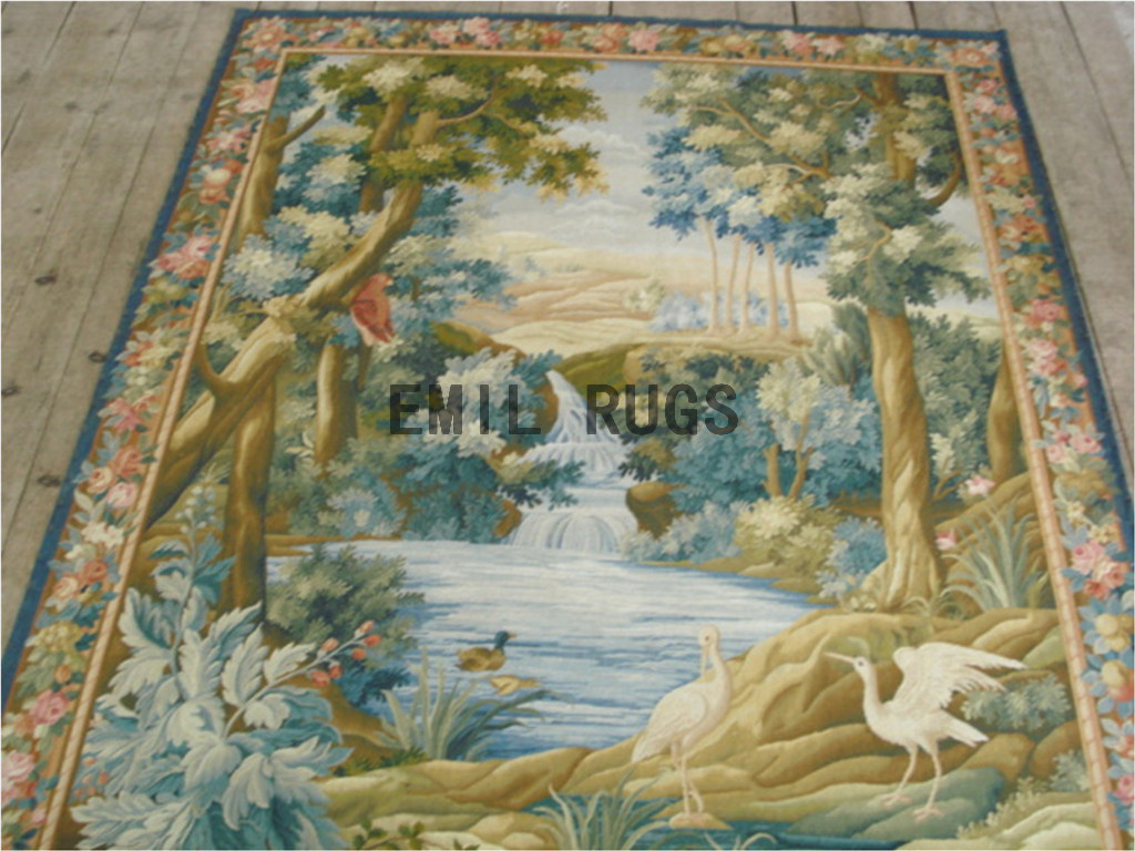 wool antique hand woven aubusson gobelin 6'x 7' tapestries wall hangings