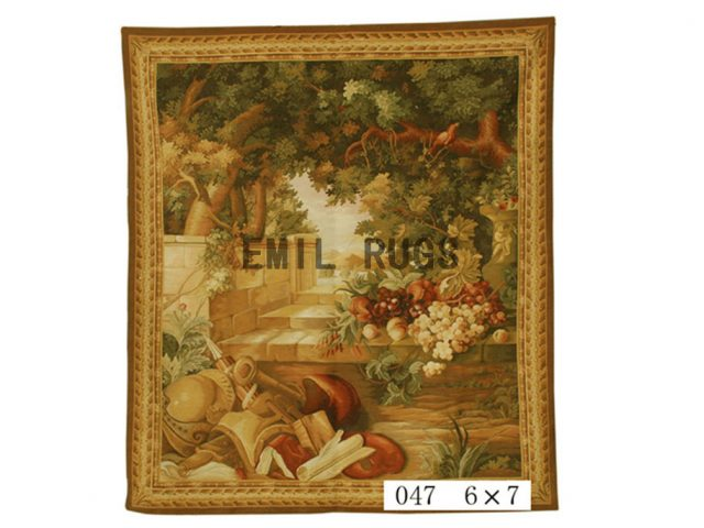 wool vintage handmade aubusson gobelin 6'x 7' wall tapestries