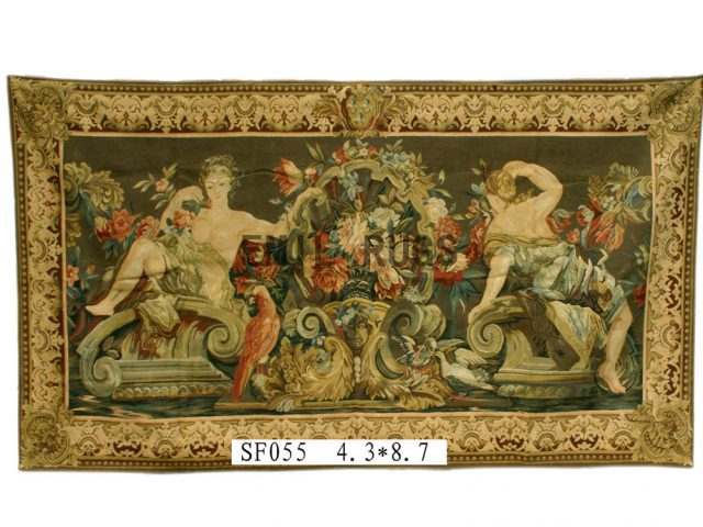 wool antique authentic aubusson gobelin 4.3'x 8.9' tapestries wall hangings