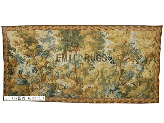wool antique flat weave aubusson gobelin 6.5'x 13.1' tapestry wall hangings