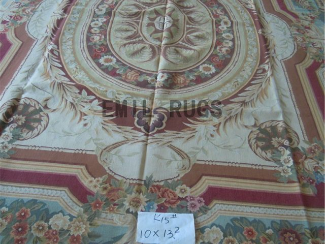 flat weave aubusson carpets 10' X 13.2' Ivory Field Multi-Colored Border authentic wool french