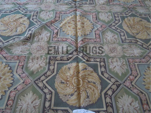 flat weave aubusson carpets Oversized 10' X 14.2' Multi-Colored Field Black Border authentic wool french