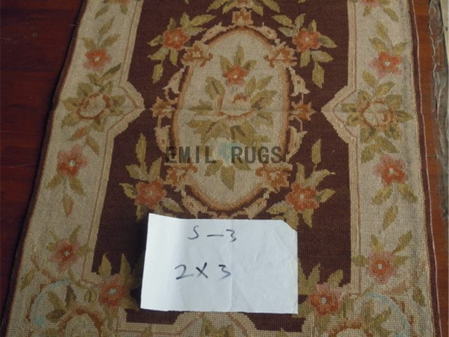 needlepoint carpet Small Size 2' X 3' Brown Field Ivory Border hand stitched