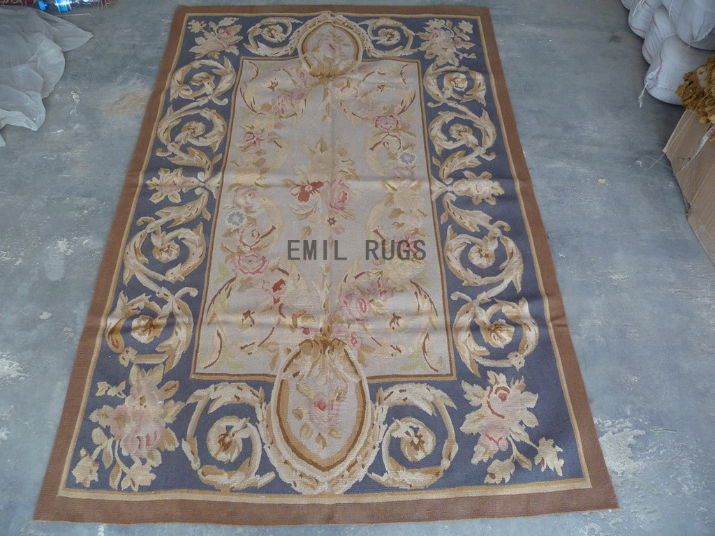 needlepoint rug 4' X 6' Gray Field Blue Border hand stitched