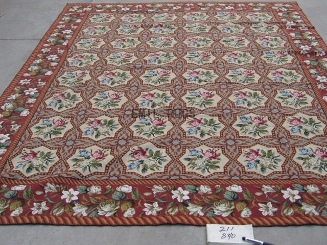 needlepoint carpet 8' X 10' Multi-Colored Field Brown Border authentic