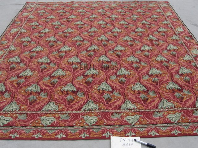 needlepoint rugs 8' X 10' Burgundy Field Burgundy Border authentic