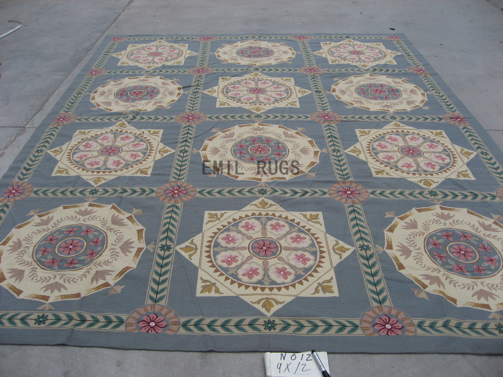 needlepoint carpets 9' X 12' Gray Field Gray Border handmade