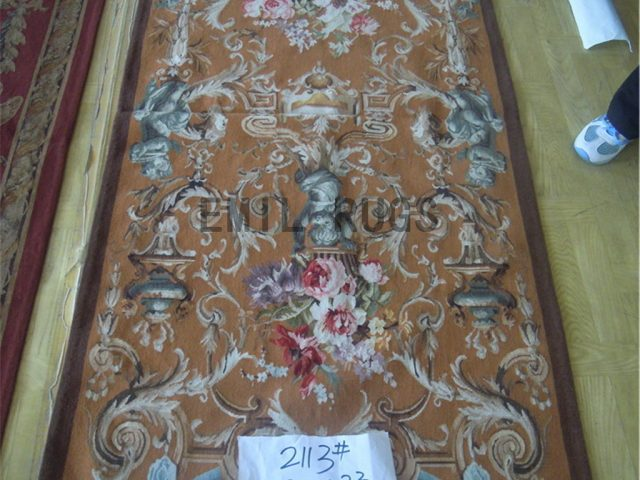 wool antique handmade aubusson gobelin 2.9' X 6.23' tapestry wall hangings