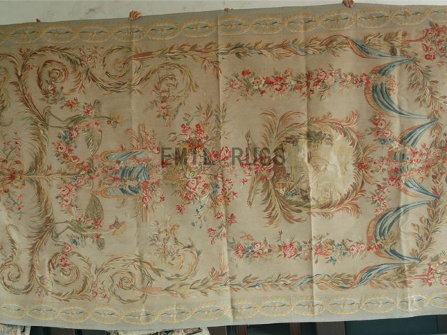 wool antique european french aubusson gobelin 6.5' X 11' tapestry wall hangings
