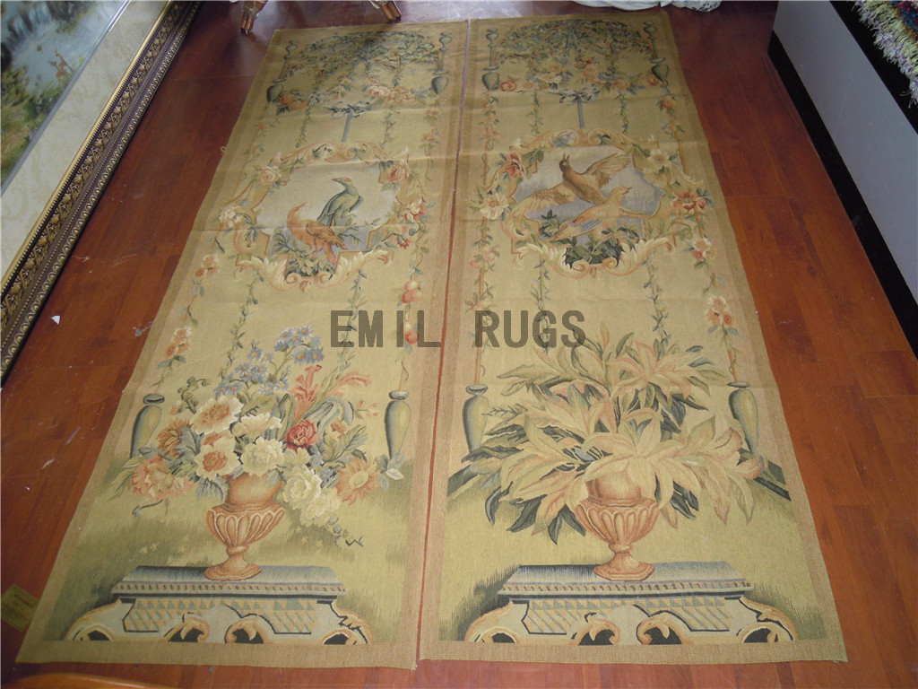 wool antique european french aubusson gobelin 2.25' X 7' wall tapestry