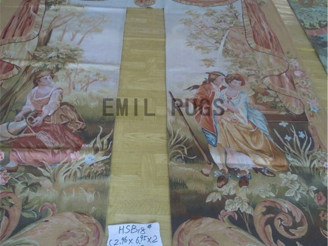 wool antique handmade aubusson gobelin 2.96' X 6.95' art tapestries