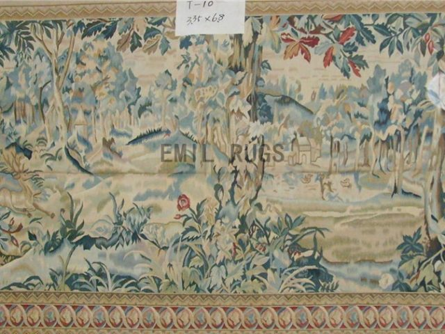 wool antique european french aubusson gobelin 3.35' X 6.8' art tapestry