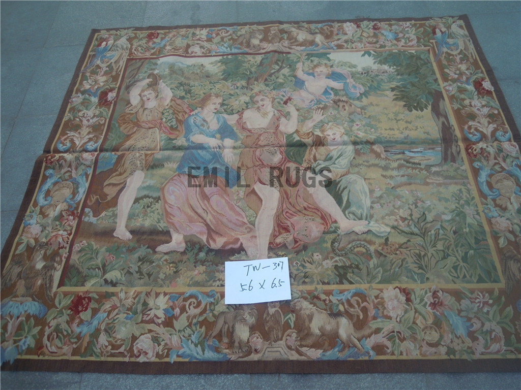 wool vintage hand woven aubusson gobelin 5.6' X 6.5' wall tapestry