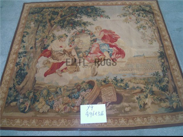 wool antique handmade aubusson gobelin 4.96' X 5.66' art tapestry