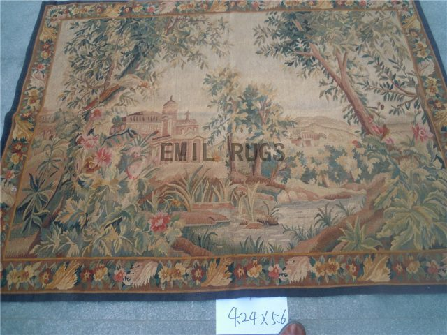 wool antique european french aubusson gobelin 4.24' X 5.6' tapestries wall hangings