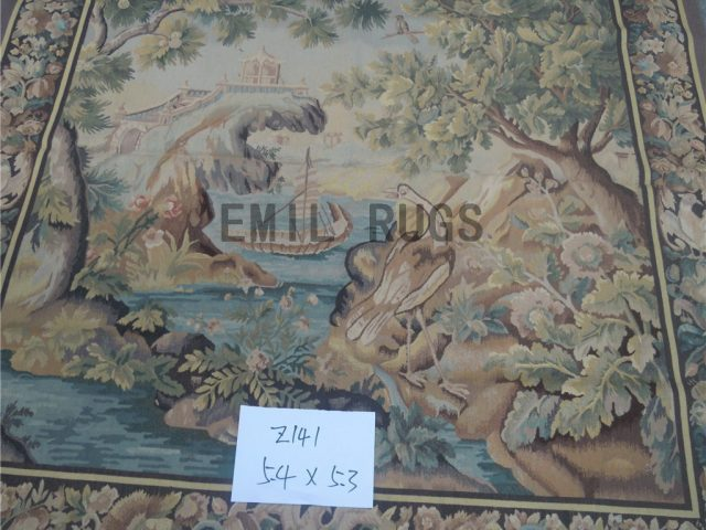 wool vintage hand woven aubusson gobelin 5.3' X 5.4' tapestries wall hangings