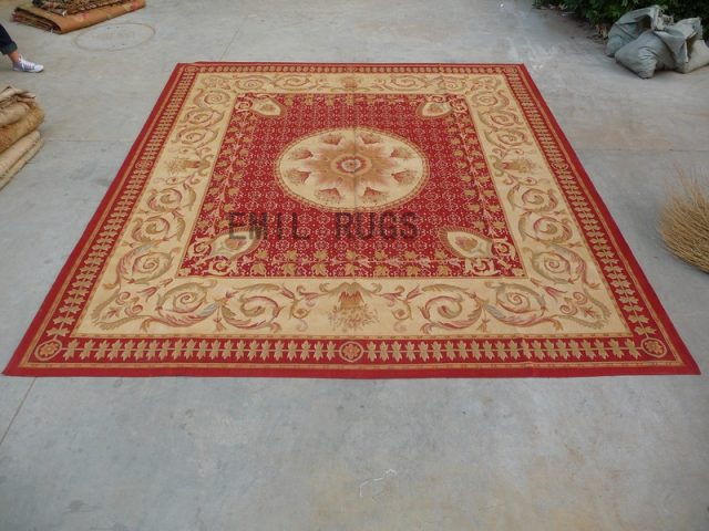 flat weave aubusson rug Square 10' X 10' Red Field Ivory Border 100% New Zealand wool european handmade