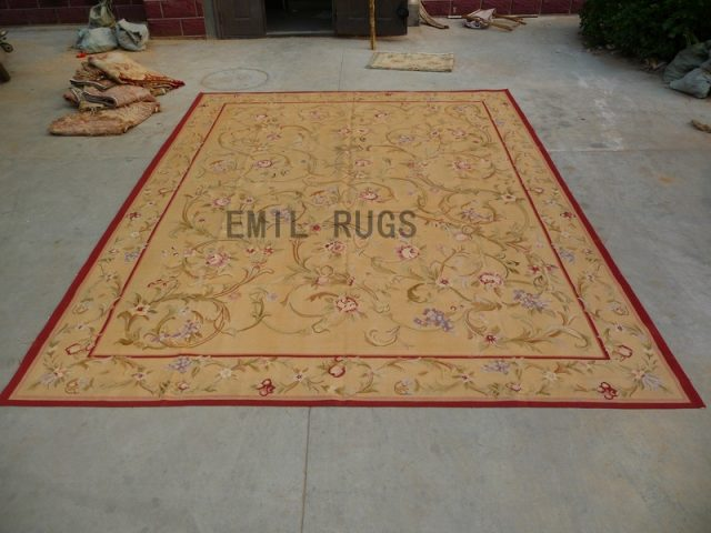 flat weave aubusson rugs Oversized 10' X 14' Yellow Field Yellow Border authentic 100% New Zealand wool french