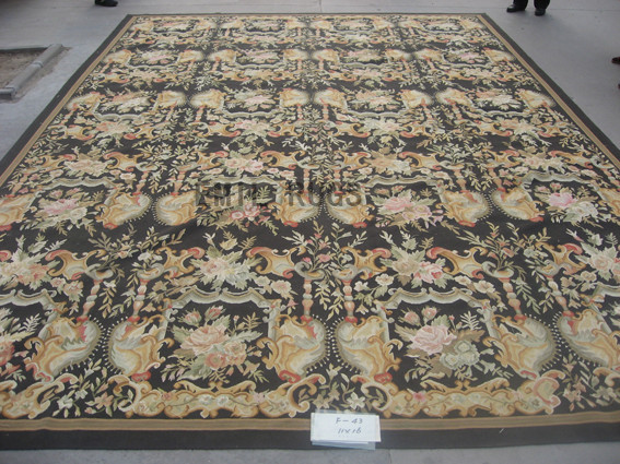 flat weave aubusson rug Oversized 11' X 16' Black Field Black Border 100% New Zealand wool hand woven