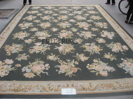 flat weave aubusson carpets Oversized 11' X 16' Black Field Ivory Border 100% New Zealand wool hand woven