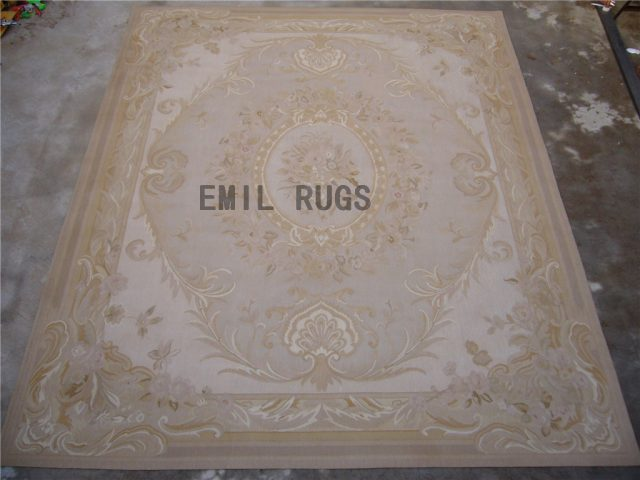 flat weave aubusson carpet Oversized 12' X 18' Ivory Field Ivory Border 100% New Zealand wool hand woven