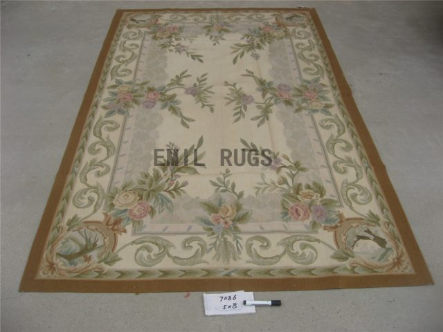 flat weave aubusson rug 5' X 8' Ivory Field Ivory Border 100% New Zealand wool european handmade