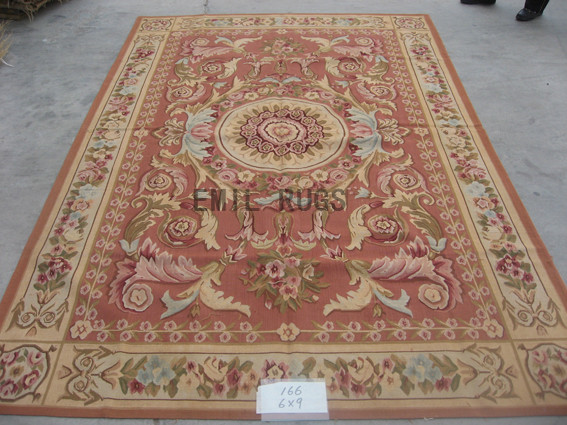 flat weave aubusson carpet 6' X 9' Pink Field Ivory Border 100% New Zealand wool hand woven