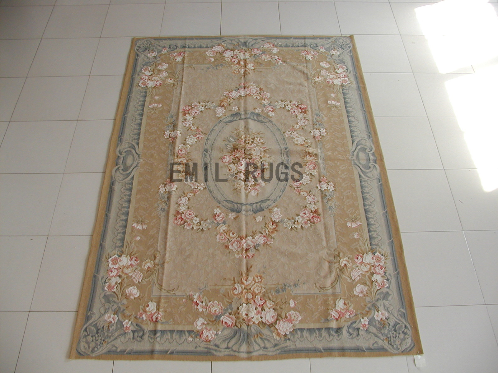 flat weave aubusson rugs 6' X 9' Beige Field Gray Border 100% New Zealand wool hand woven