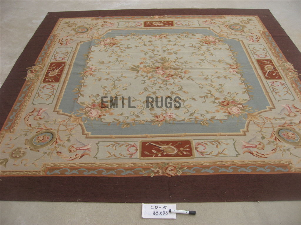 flat weave aubusson carpet Square 8.3' X 8.3' Blue Field Ivory Border authentic 100% New Zealand wool french