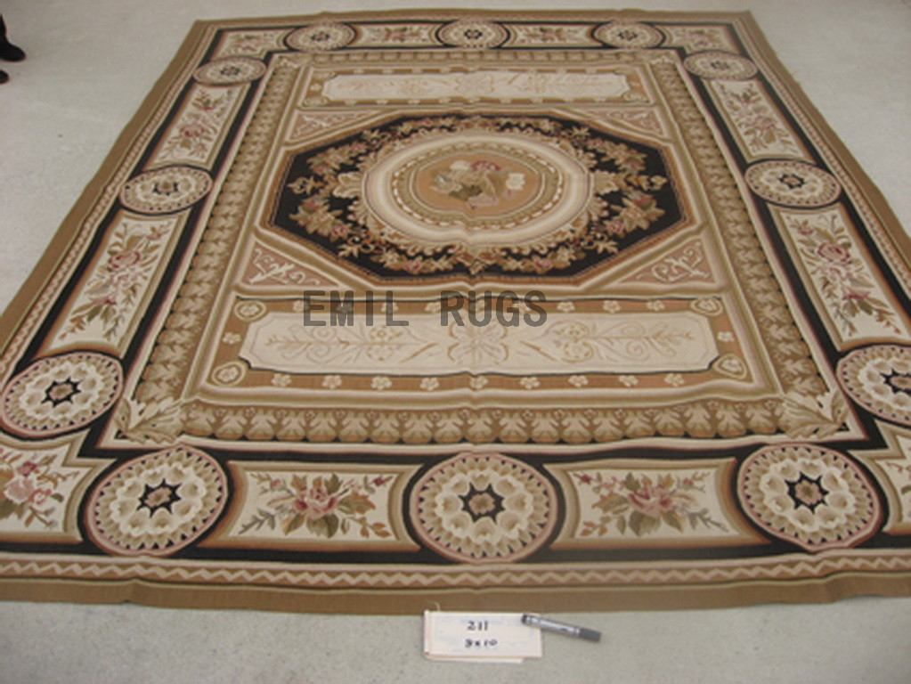 flat weave aubusson rug 8' X 10' Multi-Colored Field Ivory Border 100% New Zealand wool european handmade