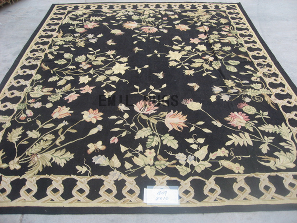 flat weave aubusson carpets 8' X 10' Black Field Black Border authentic 100% New Zealand wool french