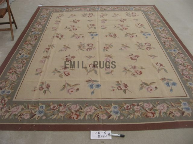 flat weave aubusson carpet 8' X 10' Ivory Field Gray Border 100% New Zealand wool hand woven