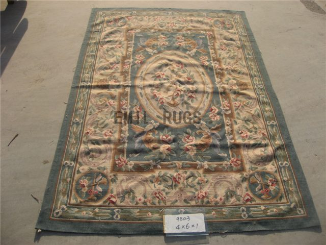 flat weave aubusson rug 3' X 5' Blue Field Ivory Border 100% New Zealand wool european handmade