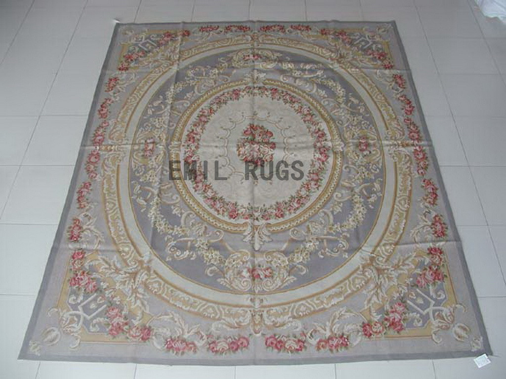 flat weave aubusson carpets 8' X 10' Gray Field Gray Border 100% New Zealand wool european handmade