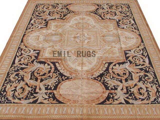 flat weave aubusson carpet 8' X 10' Black Field Beige Border 100% New Zealand wool european handmade