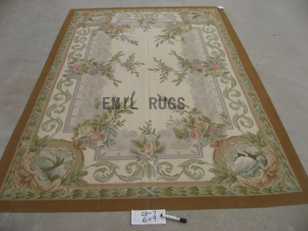 flat weave aubusson rugs 8' X 10' Ivory Field Green Border 100% New Zealand wool hand woven